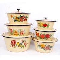 Wholesale Prints Kitchen - Enamel Pan Enamelware Soup Sauce Pot With Lid Handles Flower pattern prints Diameter 16-30cm Soup enamel Kitchen Housewares Cookware