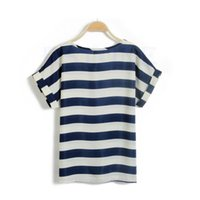 Wholesale Stripe Batwing Shirt - Wholesale- New Korean Women Girls Batwing Sleeve Chiffon Stripe Loose Tops T-Shirts