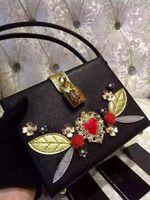 Wholesale Top Grade Branded Handbag - Top Grade Lady Shoulder Bag Luxury Brand Dollce Box Black Calf leather embellished clutch Women Handbag