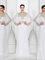 Wholesale Beaded Batwing Evening Dress - 2017 crystal beaded Dubai Abayas arabic dresses kaftans jewel neckline plus size evening dresses with Batwing sheath column