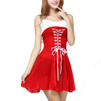 Wholesale Sexy Girl Santa - Christmas Costumes For Harness Mini Dresses Santa Claus Theme Costumes Girls Sexy Solid Strapless Short Dresses Wholesales