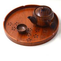 ingrosso serve cibo-Nuovi vassoi per servire Alimenti per tè Cibo orientale vintage Tè Vassoio in legno Piatto da portata Piatto da cucina Gadget per latte Pizza ZA3028