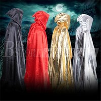 Wholesale Black Halloween Capes - 1.8m Sorcerer Death Cloak Halloween Costumes Halloween Cosplay Theater Prop Death Hoody Cloak Devil Mantle Adult Hooded Cape