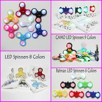 Wholesale Kids Led Toys Wholesaler - IN STOCK Bluetooth LED Lights Fidget Spinner Camo hand spinners LED Bat Spinners Anti-anxiety Stress Relief Magical Decompression Toys
