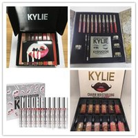 Wholesale Bright Charms - Drop Ship Kylie Lip Kit by kylie jenner Velvetine Liquid Matte Kylie 12 Colors Charm Moisturizing Bright Lip gloss Holiday Big Box