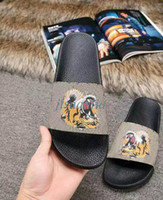 Wholesale Girl Sandal Beige - 2017 new arrival mens and womens fashion tiger printing leather slide sandals boys & girls causal beach slippers