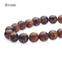 Loose Natural Blue and Gold pedra de areia Round Beads Gemstone 4-14mm Fashion Jewelry Strand para DIY S-077 Stome