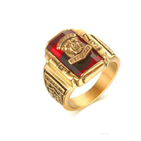 Wholesale Rings Large Stones - Men's Rock Punk Ring 18K Gold Plated Large Red CZ Stone Ring Jewelry 1973 Lion Head Party Rings For Men RC-303