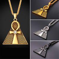 Wholesale Gold Key Necklaces For Women - U7 Ansata Cross Ankh Necklace Egyptian Pyramids Pendant Necklace Gold Plated Black Gun Plated Key of The Life Chain For Men Women New GP2571