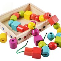 beads around wooden toys NZ - Factory direct large wooden beads around the wooden puzzle children's toys beaded early education toys wholesale 4-5 years old