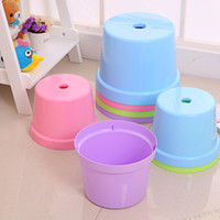 Wholesale Stool Plastic - Creative Plastic chair four colors PP material Fashion solid color thicker Home Stool Chair child Plastic stool