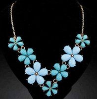 Wholesale Bubble Bib Fashion - 2017 Real New Bubble Choker Necklace Chain Colorful Flower Pendant Bib Statement Necklaces & Pendants Fashion Jewelry for Women