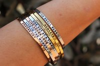 Wholesale Thin Gold Plated Bangles Wholesale - Factory wholesale custom men women popular engraved inspirational quotes gold thin bangle blank cuff bracelet cheap stainless steel