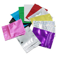 Wholesale Wholesale Aluminum Ziplock Packaging - 200Pcs Lot 7.5*10cm Colorful Zipper Zip Lock Aluminum Foil Valve Packaging Bags Resealable Ziplock Food Grocery Storage Mylar Pouches Bag