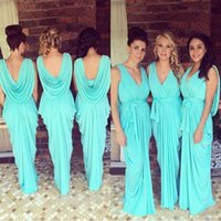 Wholesale Custom Glow Dark - Glowing Teal Turquoise Bridesmaid Dresses 2016 V-Neck Draped Ruffles Chiffon Backless Junior Long Maid Of Honor Gowns