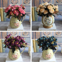 Hot Realistic 6 Sucursais Blue Autumn Artificial Falsos Peony Arranjo de flores Casamento Hydrangea Home Decor Flores Artificiales
