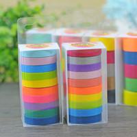 Wholesale Masking Tape Washi - 2016 0.75cm DIY candy colour Roll Washi Sticky Paper Tape Masking Tape Self Adhesive Scrapbooking Decorative Tape gift