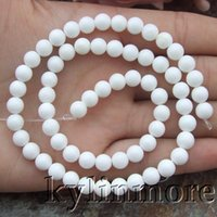 """Wholesale Oval Natural Gemstone Beads - 8SE11054 6mm Natural White Tridacna Shell Round Gemstone Beads 15.5"""" Strands"""
