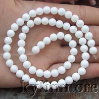 "Wholesale Tridacna Beads - 8SE11054 6mm Natural White Tridacna Shell Round Gemstone Beads 15.5"" Strands"