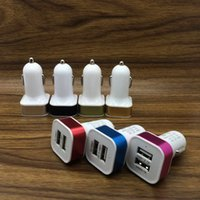Wholesale Usb Car Adapter Colors - For Iphone 6S Dual Mental Car Charger Colorful Adapter USB Car Plug 5V 2 Ports Universal Car Plug 5 Colors No Package