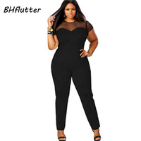 Wholesale casual jumpsuits for women plus - Wholesale- 4XL Plus Size Clothing Women Short Sleeve Casual Jumpsuits Lace Patchwork Women's Sexy Vintage Overalls Playsuits For big women
