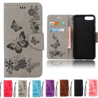 Wholesale Purple Butterfly Iphone Cases - Embossed Leather Flip Case for iPhone6 6s Plus Butterfly Stand Back Cover for iPhone7 7Plus Wallet Holster 5S SE Mt Phone Cases