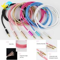 kablolama hoparlörleri toptan satış-Aux Kablo 3.5mm için 3,5 mm Naylon Tel Araba Cep Telefonu MP3 / MP4 Kulaklık Hoparlör için Erkek Ses Kablosu Tak Erkek Altın kaplamalı