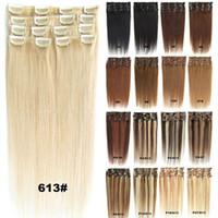 insan saçı 24 uzatma klipsi toptan satış-Sarışın Siyah Kahverengi Ipeksi Düz İnsan Saç Uzantıları Klip 70g 100g 120g Brezilyalı hint remy saç için Tam Başkanı