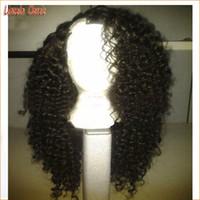 Wholesale Side U Part Wig - Brazilian virgin human hair kinky curly U part wig 100% human hair wig 1B right side part u part human hair wigs with strap