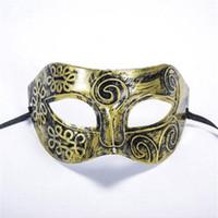 bronz kostüm toptan satış-Yeni Moda Cadılar Bayramı Kostüm Topu Maske Roma Gladyatör Maskeli Erkek Maskeleri Retro Bronz Ve Gümüş Venedik Parti Sahne Prop