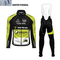 Wholesale Green Cycling Jersey Bibs - Topeak Men Winter thermal Fleece cycling clothing long sleeve Pro cycling jersey  bib long pants winter cycling clothes hombre Riding green