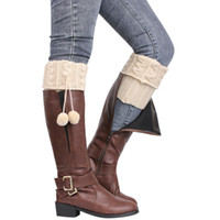 Wholesale Knee High Boots Stockings - Wholesale- Women Winter Crochet Knitted Stocking Footless Leg Warmers Boot 5 Colors New Boot Cover Elastic Thigh High Cuffs Leg Warmers