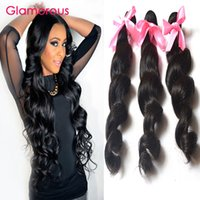 Wholesale Real Hair Extensions Virgin - Glamorous 3 Bundles Virgin Malaysian Hair Extensions Loose Wave Real Human Hair Brazilian Indian Peruvian Wavy Remy Hair Weft Wholesale
