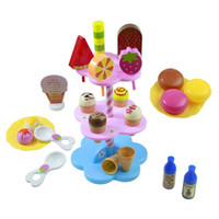 Wholesale Play Food Ice Cream - 22pcs DIY Play Desserts Ice Cream 3+ Children Kids Baby Classic Toy Pretend Play Kitchen Food Sweet Treats Plastic Toy No Box