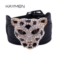 Wholesale Leather Gold Plate Belts Wholesale - Wholesale- New Fashion Leopard Animals Charms Design Gold Plated Full Rhinestone Tiger Bangles & Bracelets Femme with Leather belt BR-03107