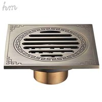 Wholesale Antique Brass Floor Drain - hm Waste Antique Floor Drain Brass Bathroom Accessory Euro Linear Shower Wire Strainer Carved Cover Drains Drain Strainers 170305#