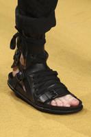 Wholesale canvas shoes punk for sale - Group buy 207 Punk Style Mens Sandals Flats Summer Shoes Buckle leather Ankle Booties Casual Roman Gladiators Black Beach Shoes Flip Flops