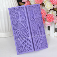 Wholesale Peacock Favors - Wholesale- 100pcs lot peacock wedding favors, purple laser cut invitations