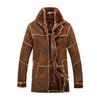 Wholesale Mens Winter Coat Line - Fall-Mens Fur Lined Jacket Thick Warm Winter Leather Jackets Long For Men Vintage Outerwear Overcoat Faux Suede Coats Khaki Brwon