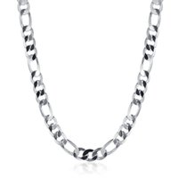 Wholesale Mens Chain Brass - 20 inch 925 Silver Plated Mens Necklace Link Chains Mens Fashion Jewelry