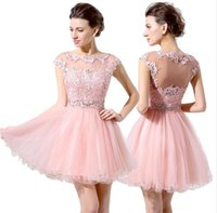 A-Line Fit Flare Jewel Neck Kurz / Mini Lace Tüll Cocktail Party Heimkehr Prom Dress mit Spitze