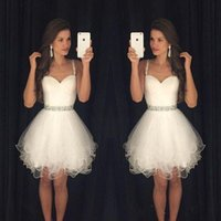 Wholesale Sexy Waistline - Spaghetti Straps White Homecoming Dresses 2017 Beading Waistline Tiered Tulle Dresses Sweet 16 Gowns Cocktail Short Semi Formal Dresses
