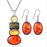 Wholesale Wholesale Insect Amber - Explosive insect amber color beeswax jewelry set fine necklace earrings set wholesale free shipping