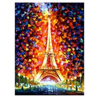 Wholesale Artist Picture - Paintings Eiffel Tower In Paris-PALETTE KNIFE Figure By Artists Home Decorative Art Picture Printed On Canvas