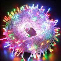многоцветные рождественские огни для оптовых-50 м 400 LED цепь фея строки огни фиолетовый розовый многоцветный теплый белый красный желтый синий 110 В 220 В украшения свет для праздника Рождества