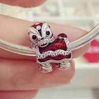 Wholesale Oriental Jewelry - 2017 Valentine's Day 100% 925 Sterling Silver Oriental Lion Dance Charms Beads Fit Pandora Charm Bracelets Jewelry DIY Making -