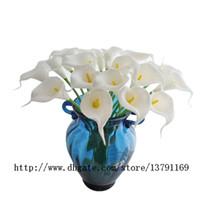ingrosso decorazione in lattice-Artificiale Calla Lily Bridal Wedding Party Decor Flower Bouquet Latex Touch Flower Bunch Confezione da 20