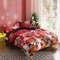 """Wholesale Santa Claus Duvet - Wholesale-2016 New Winter Christmas Bedding Set 4pcs Santa Claus Duvet Cover 79""""x90"""" Bed Flat Sheet 90""""x90"""" 2 Pillowcases Home Textile"""
