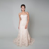 Wholesale Alencon Lace Gown Train - Trumpet Style Wedding Gown Blush Base With Blush Italian Alencon Lace a Sweetheart Neckline Low Back And a Chapel Train Bridal Dress