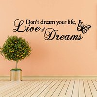 etiqueta engomada viva del sueño al por mayor-Para Live Your Dreams Butterfly Love Quote Funny Pegatinas de pared Dormitorio Salón Calcomanías extraíbles Diy
